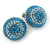 Boho Style Sky/ Light Blue Beaded Dome Stud Earrings In Silver Tone - 22mm