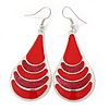 Red Enamel With Glitter Teardrop Earrings In Silver Tone - 65mm L