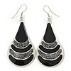 Black Enamel With Glitter Teardrop Earrings In Silver Tone - 65mm L
