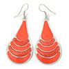 Coral Enamel With Glitter Teardrop Earrings In Silver Tone - 65mm L