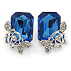 Blue Square Glass with Rose Motif Stud Earrings In Rhodium Plating - 25mm L