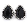 Black/ Clear Glass Teardrop Stud Earrings In Rhodium Plating - 30mm L