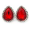 Red/ Clear Glass Teardrop Stud Earrings In Rhodium Plating - 30mm L