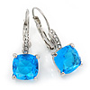 Pear Cut Sky Blue CZ/ Clear Crystal Drop Earrings In Rhodium Plating With Leverback Closure - 30mm L