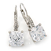 Pear Cut Clear CZ, Crystal Drop Earrings In Rhodium Plating With Leverback Closure - 30mm L