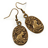 Bronze Tone Oval Cameo Drop Earrings - 45mm L