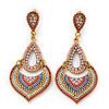 Boho Style Multicoloured Bead, Crystal Shandelier Earrings In Gold Tone - 75mm L