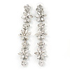 Bridal/ Prom Luxury Clear Swarovski Elements Crystal Floral Drop Earrings In Rhodium Plating - 90mm L