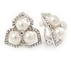 Clear Crystal, Glass Pearl Three Petal Flower Clip On Earrings In Silver Tone - 20mm L