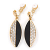 Black Acrylic, Clear Crystal Leaf Clip On Earrings In Gold Plating - 45mm L