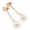 Gold Tone Clear Crystal  Front and Chain With 13mm Cream Pearl Drop  Earrings - 60mm L