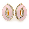 Light Pink Enamel Clear Crystal Oval Clip On Earrings In Gold Plaiting - 23mm L