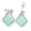 Diamond Pale Green Acrylic Bead, Crystal Drop Clip On Earrings In Silver Tone - 40mm L