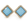 Square Crystal with Light Blue Acrylic Stone Clip On Earrings In Gold Plating - 23mm L