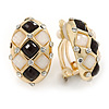 Black/ White Acrylic Bead Oval Clip On Earrings In Gold Tone - 23mm L