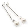 Silver Tone Clear Crystal Bar with Faux Pearl Linear Drop Earrings - 70mm L