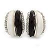 C Shape Black/ White Acrylic, Clear Crystal Stud Earrings In Silver Tone - 20mm