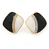 Black/ White Enamel Crystal Square Clip On Earrings In Gold Plating - 20mm