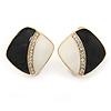 Black/ Cream Enamel Crystal Square Clip On Earrings In Gold Plating - 20mm