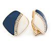 Dark Blue/ White Enamel Crystal Square Clip On Earrings In Gold Plating - 20mm