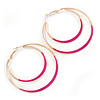60mm Fuchsia Enamel Double Hoop Earrings In Gold Tone