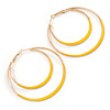 60mm Yellow Enamel Double Hoop Earrings In Gold Tone