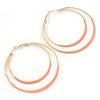 60mm Light Pink Enamel Double Hoop Earrings In Gold Tone