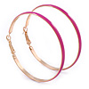 60mm Large Fuchsia Enamel Hoop Earrings In Gold Tone