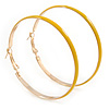 60mm Large Yellow Enamel Hoop Earrings In Gold Tone