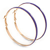 60mm Large Purple Enamel Hoop Earrings In Gold Tone