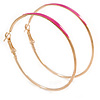 60mm Large Slim Fuchsia Enamel Hoop Earrings In Gold Tone