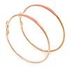 60mm Large Slim Light Pink Enamel Hoop Earrings In Gold Tone