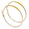 60mm Large Slim Yellow Enamel Hoop Earrings In Gold Tone