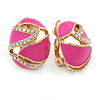 Oval Deep Pink Enamel, Clear Crystal Clip On Earrings In Gold Plating - 20mm L