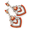 Orange Acrylic Bead, Clear Crystal Chandelier Earrings In Silver Tone - 60mm L