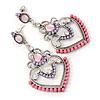 Lavender/ Pink Acrylic Bead, Clear Crystal Chandelier Earrings In Silver Tone - 60mm L