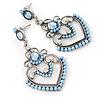 Light Blue Acrylic Bead, Clear Crystal Chandelier Earrings In Silver Tone - 60mm L