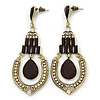 Vintage Inspired Black/ Cream Acrylic Bead Chandelier Earrings In Antique Gold Tone Metal - 80mm L