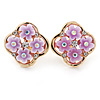 Gold Tone Light Purple Acrylic, Clear Crystal Floral Stud Earrings - 16mm