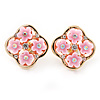 Gold Tone Pink Acrylic, Clear Crystal Floral Stud Earrings - 16mm