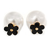 Gold Tone Front Back Earrings with Classic Faux Pearl 16mm and Black Acrylic Flower Features