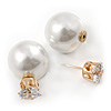 13mm/ 5mm Gorgeous Wedding/ Bridal/ Prom White Faux Pearl Front Back Stud Earrings In Gold Tone Metal