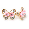 Gold Plated, Crystal with Pink Flowers Stud Butterfly Earrings - 20mm W