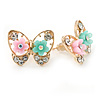 Gold Plated, Crystal with Pink/ Teal Flowers Stud Butterfly Earrings - 20mm W