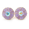 Light Purple Enamel Crystal Daisy Stud Earrings In Gold Tone - 15mm D