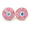Pink Enamel Crystal Daisy Stud Earrings In Gold Tone - 15mm D