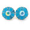 Light Blue Enamel Crystal Daisy Stud Earrings In Gold Tone - 15mm D