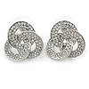 Rhodium Plated Cz Trinity Borromean Rings Stud Earrings - 17mm D