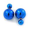 Mirrored Blue Acrylic 7-15mm Double Ball Stud Earrings In Silver Tone Metal