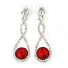 Bridal/ Prom/ Wedding Red/ Clear Austrian Crystal Infinity Drop Earrings In Rhodium Plating - 50mm L